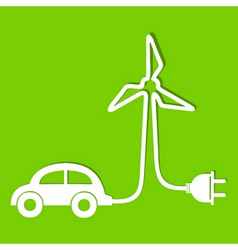 Eco car make a wind-mill icon stock vector