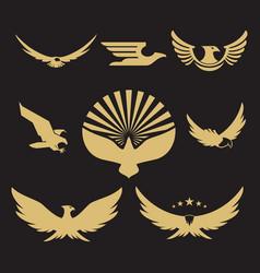 gold heraldic eagle logo design vector image