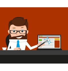 Lucky businessman is presenting a web site vector image vector image