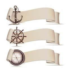Set of banners with marine icons vector image