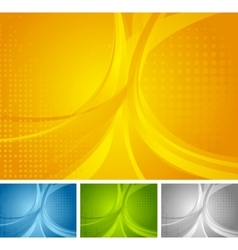 Abstract set of bright wavy backgrounds vector image