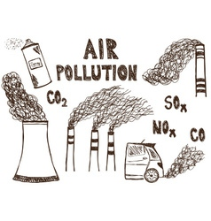 Air pollution doodle vector image vector image