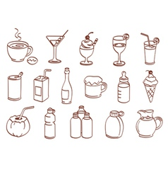 beverage related icon set vector image