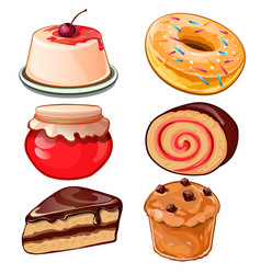 Cheesecake jam cupcake donut swiss roll vector
