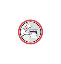 Chef cook baker opening oven circle cartoon vector