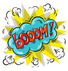 pop art comic speech bubble with boom word vector image