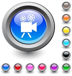Video camera round button vector image vector image