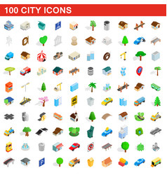 100 city icons set isometric 3d style vector