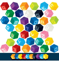 3D Cubics Font vector image