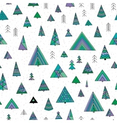 Abstract stylized fir tree seamless pattern vector