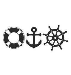 Anchor steering wheel and lifebuoy vector