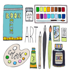 Art supplies for drawing cartoon set with paints vector