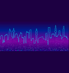 background with cyberpunk cityscape vector image