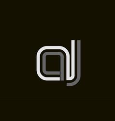 Black and white line aj a j letter logo alphabet vector