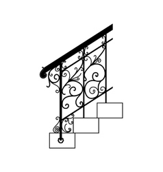 Black forged metal railings with floral motifs vector image