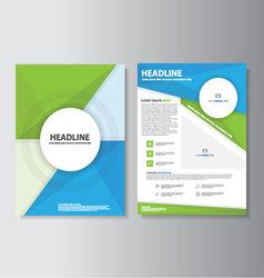 Blue green brochure flyer leaflet template set vector