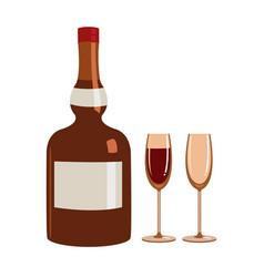 Bottle liquor and two glasses vector