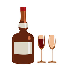 bottle of liquor and two glasses vector image