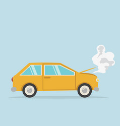 breakdown yellow car flat styled vector image