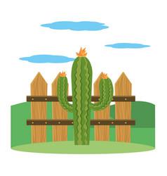 cactus outdoor cartoon vector image