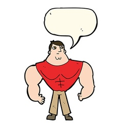 Cartoon body builder with speech bubble vector