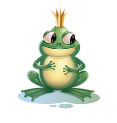 cartoon frog cute frog with crown isolated on vector image
