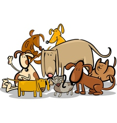 Cartoon Group of Funny Dogs vector