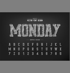 chalk font and sketch alphabet hand draw vector image