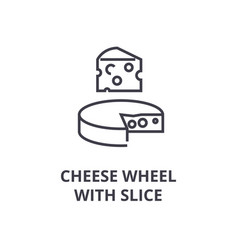cheese wheel with slice line icon outline sign vector image