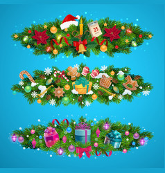 christmas tree garlands with xmas gifts presents vector image