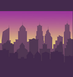 city background with buildings silhouettes big vector image