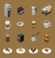 Coffee isometric set vector