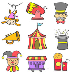 Collection stock circus theme doodles vector