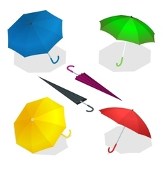Colorise isometric umbrellas in various positions vector image