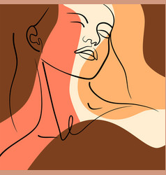contour girls face on abstract background vector image