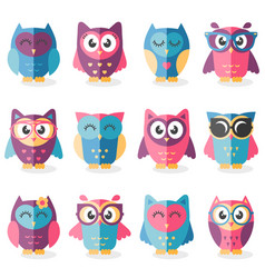 Cute cartoon owls isolated on white background vector