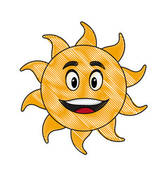 Cute hand drawn smiling cartoon character of sun vector