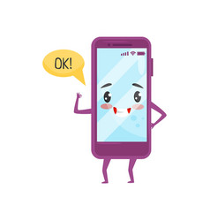 Cute humanized smartphone with kawaii face showing vector