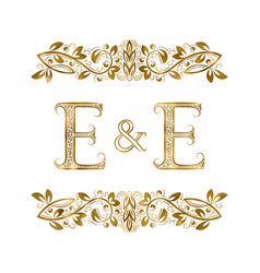 E and e vintage initials logo symbol vector