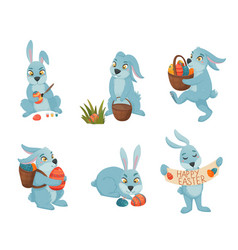 Easter bunnies cartoon collection vector