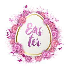 easter card with paper pink flowers vector image