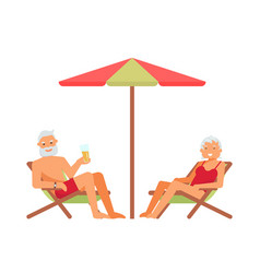 elderly people characters on a loungers vector image