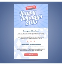 Email template with greeting Christmas and Happy vector