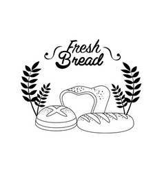 Emblem fresh bread bakery with branches vector