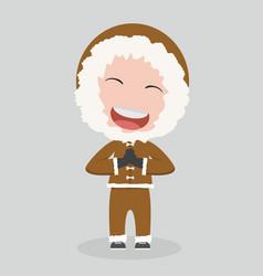 Eskimo man in flat design vector