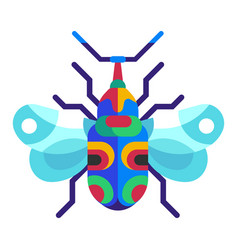 Exotic bugs and beetles flat design icons vector