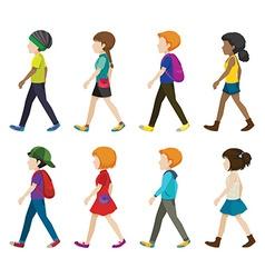 Faceless children walking vector image