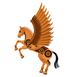 fantastic horse pegasus in style steampunk vector image