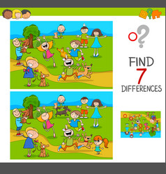 Find differences with kids and dogs characters vector