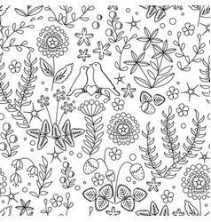 floral seamless pattern with flowers leaves and vector image